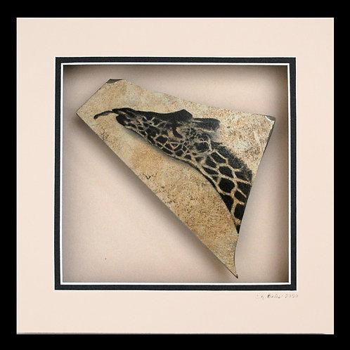 Giraffe's Long Lick, 8x8 Photogem on tile