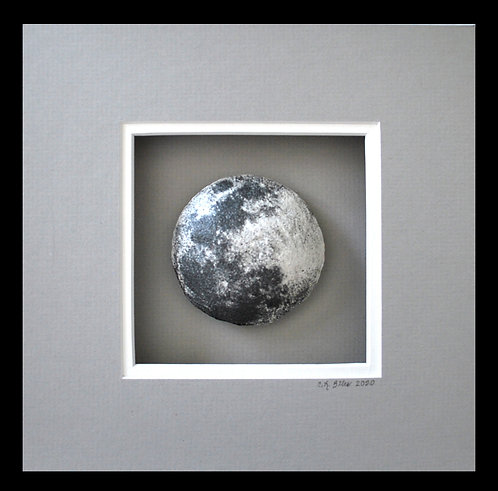 "The Moon, 8x8.  Photo of moon ""wrapped"" around styrofoam ball"
