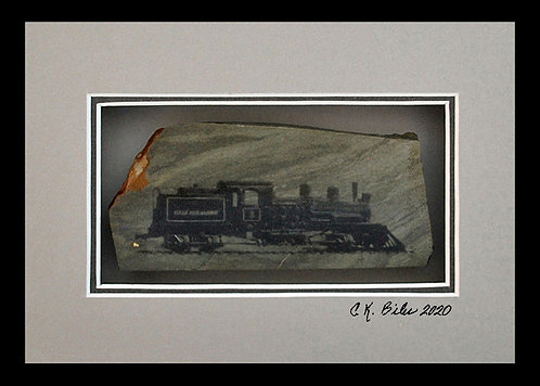 Jamestown Train, 5x7 Photogem on olive green gemstone