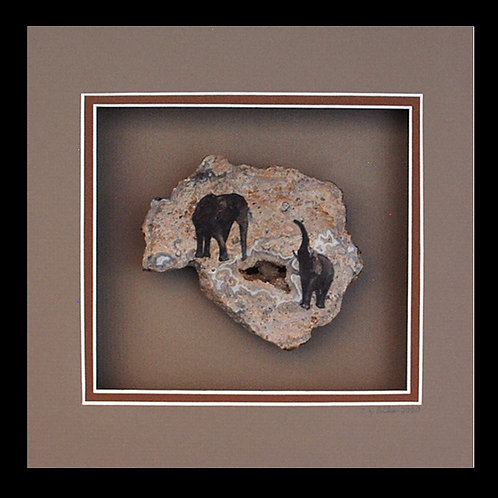 Elephants at a Water Hole, 8x8 Photogem