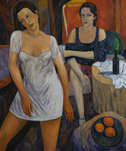 Two figures in the cafe - 2020 - oil on