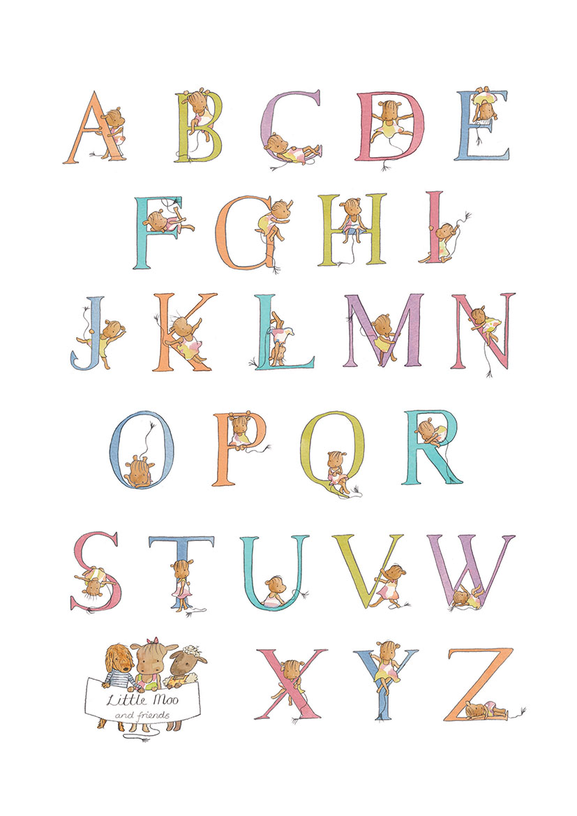 Little Moo A3 Alphabet Print