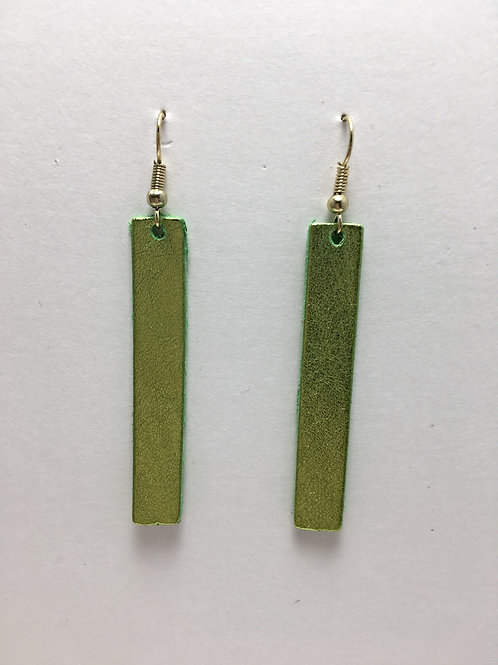 Shimmery Chartreuse Leather Rectangles
