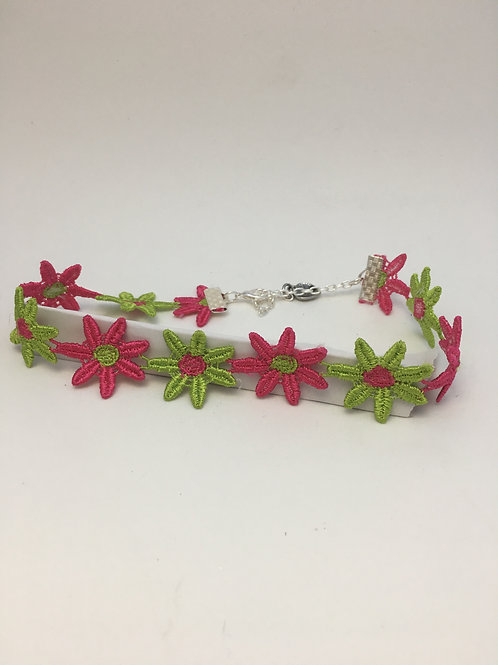 Pink and Green Flower Trim Choker