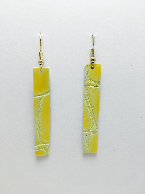 Canary Yellow Embossed Patent Leather Rectangle Earrings