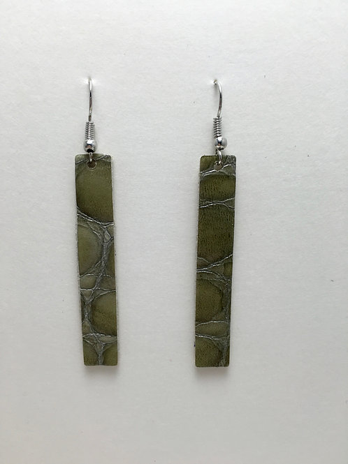 Gray Embossed Patent Leather Rectangle Earrings