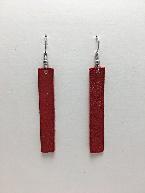 Shimmery Red Leather Rectangles