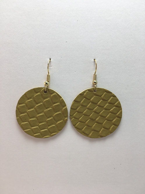 Stamped Spicy Mustard Leather Circles