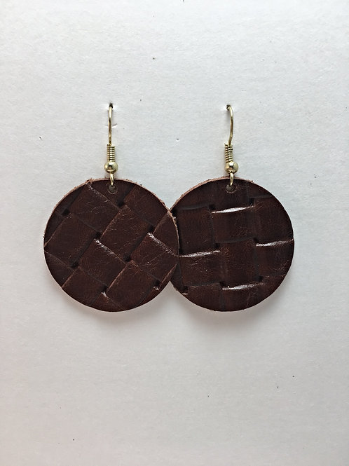 Brown Basket Weave Leather Circles
