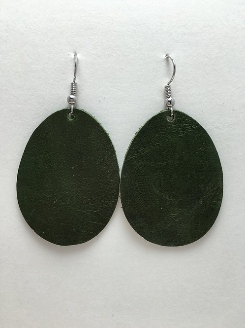 Pine Green Leather Ovals