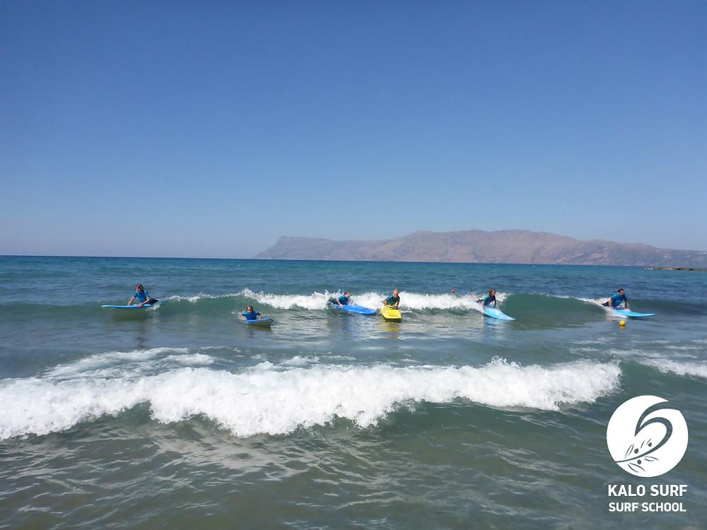 surf lesson Crete, beginner group
