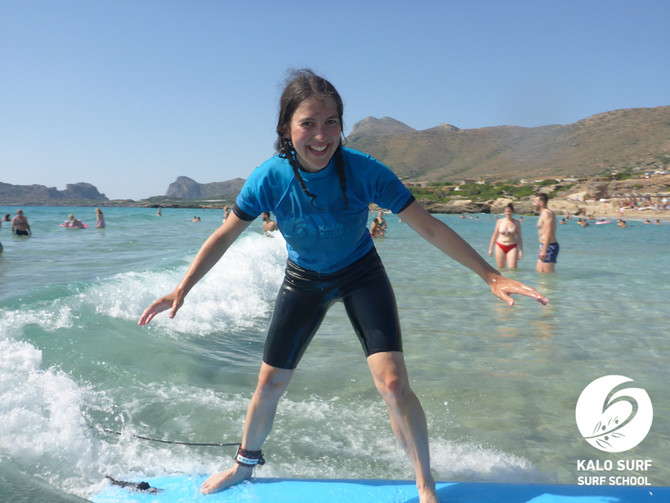 Afternoon Surf lesson in July in Greece