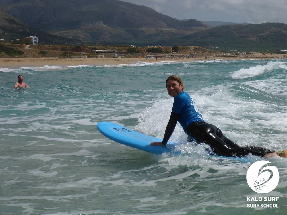 Catching waves in Falassarna, Crete