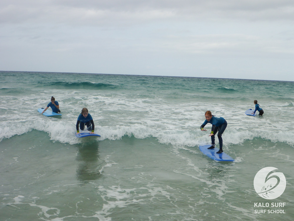 Kids Surfing in October in Crete