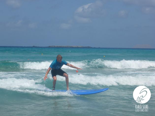 Surfing a 9 foot board in Falassarna