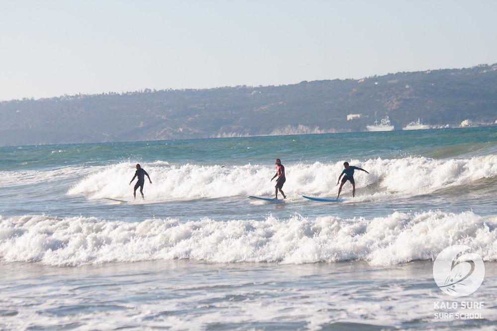 intermediate surf lesson in Crete