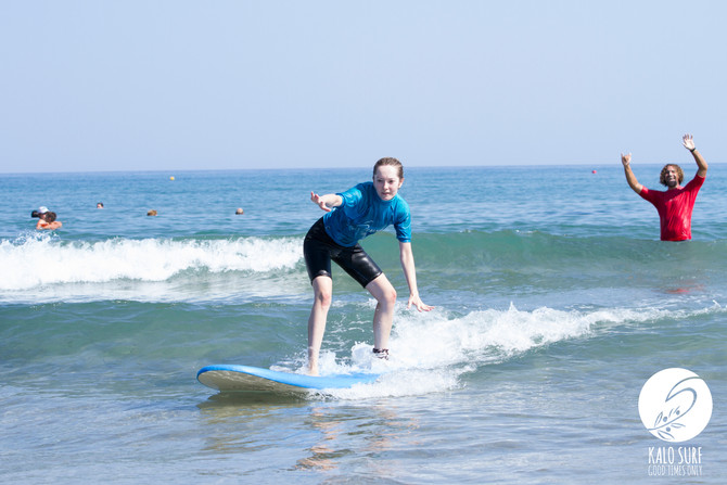 Surfing for the first time on Crete