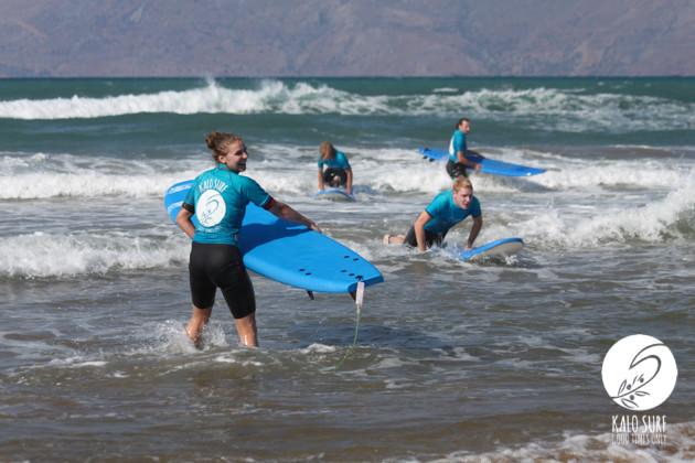 surfers at beach break of kissamos