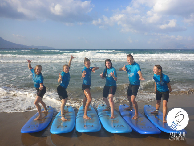group picture surfing in Crete