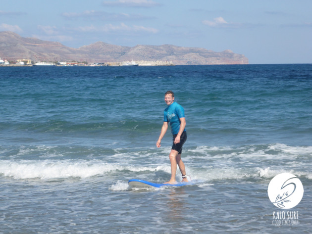 first surf lesson in Kissamos