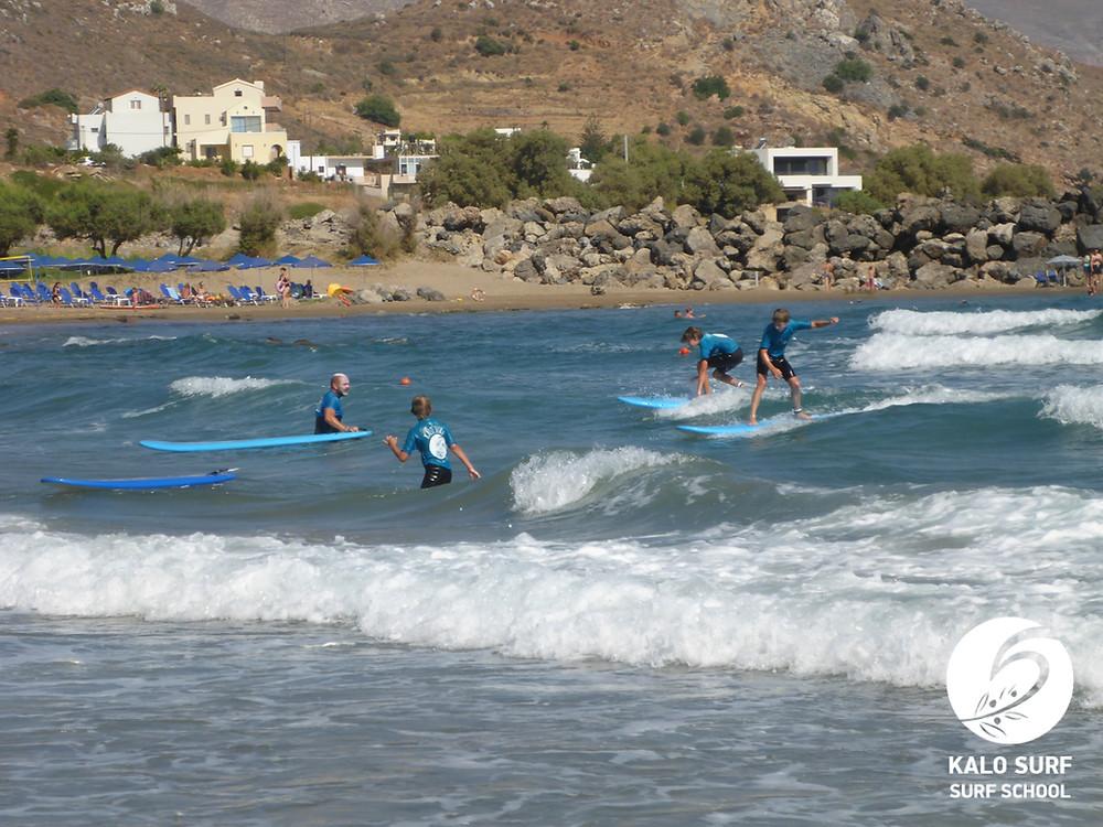 family portrait, surfing lessons Crete