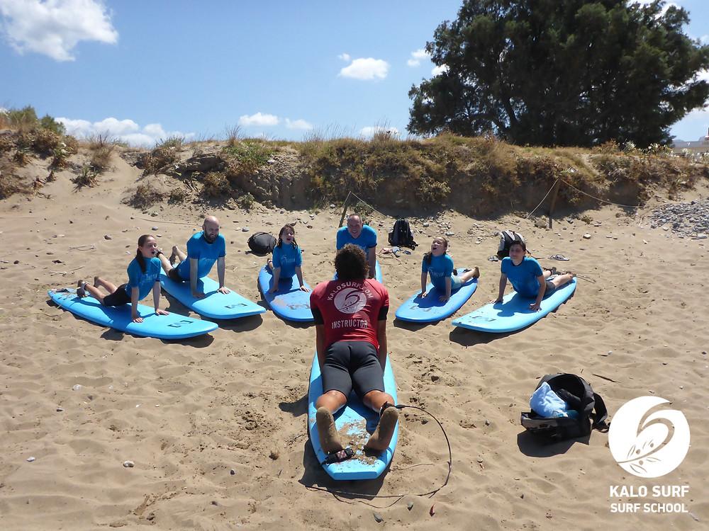 Trockenübungen, Wellenreiten, Kreta, Kissamos