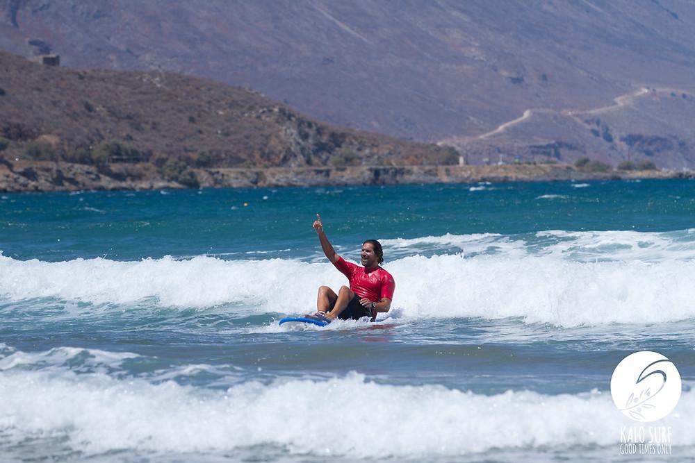 Surfcoach, surfboard, ocean, mountains, greece