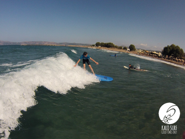 Surfing in perfect mellow waves in Greece