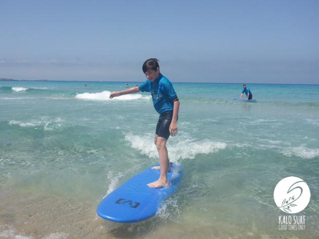 kid surfing in Falassarna