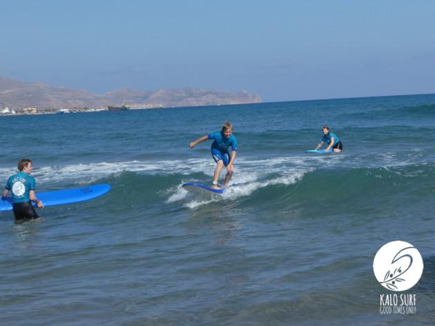 Kids surfing in Crete, Beginner Surf course