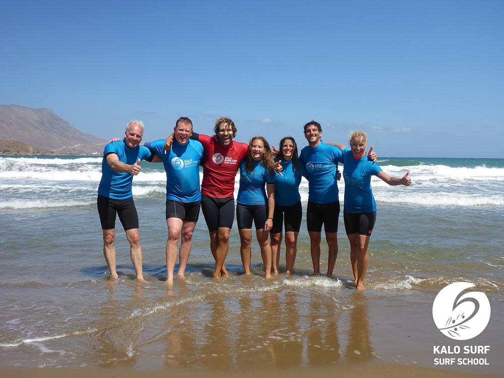 group pic surf lesson Crete
