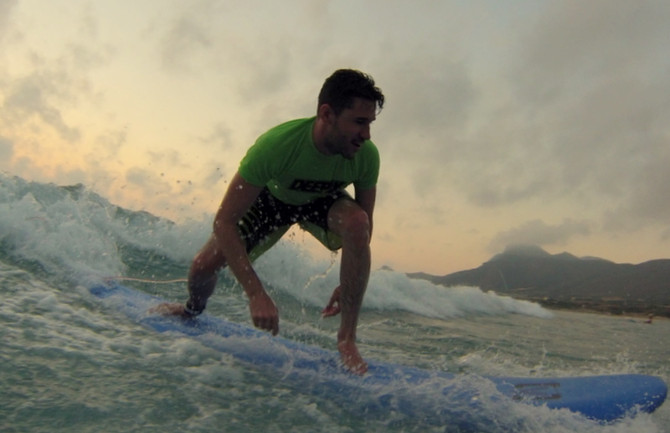 Sunset Surf Session in Crete with Kalo Surf