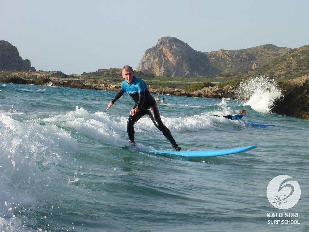 Surfkurs, Kreta, Kurven fahren