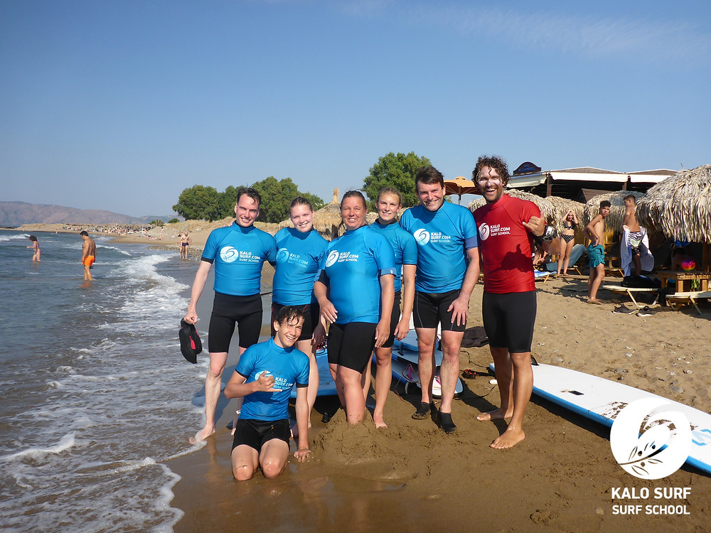 Family group picture after the surf lesson