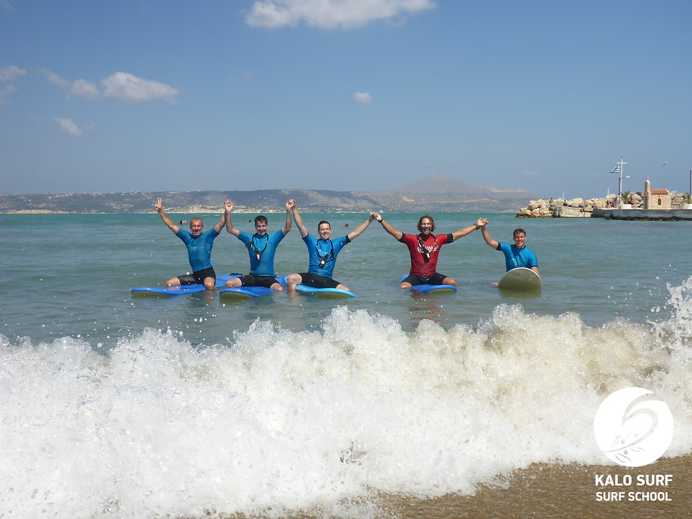 group picture, surfboards, surfing Crete