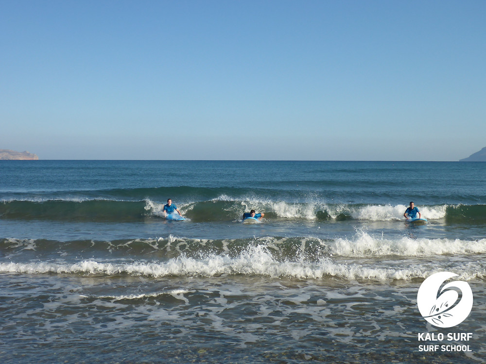 catching waves in Crete, surf lesson, Kalo Surf