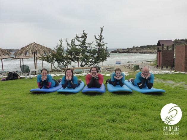 group photo surfing in Crete