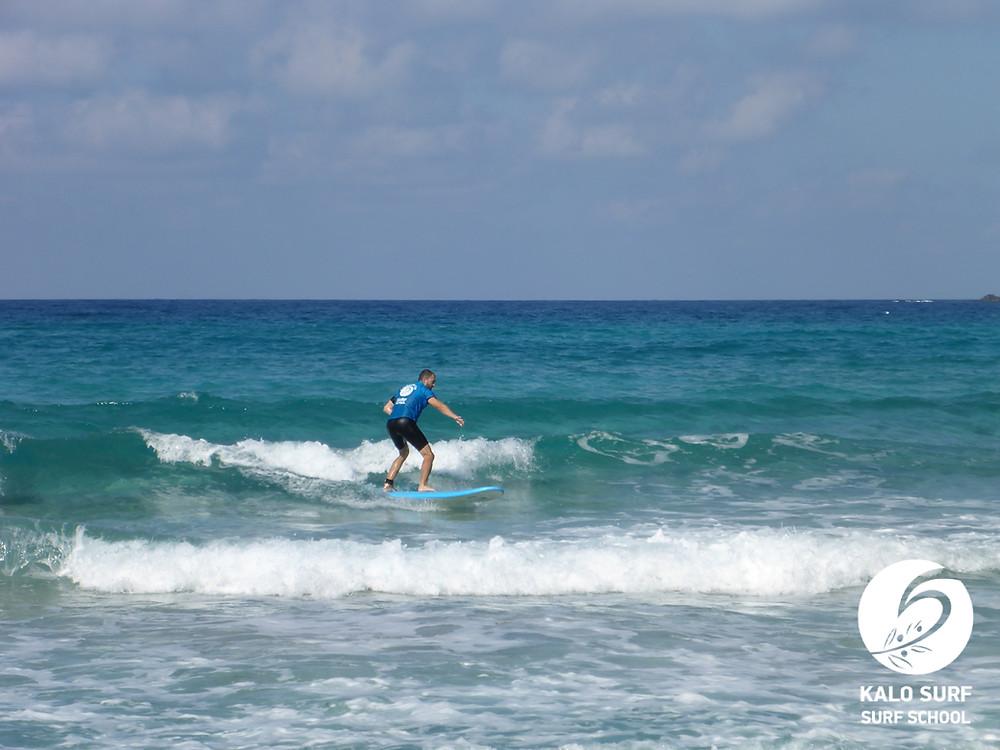 surf lesson Crete, green wave, Falassarna