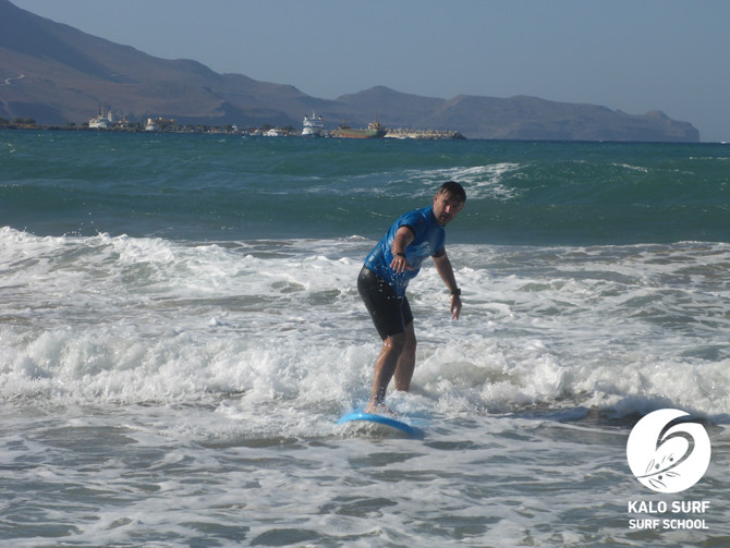 High Wave Count during the surf lesson in Crete