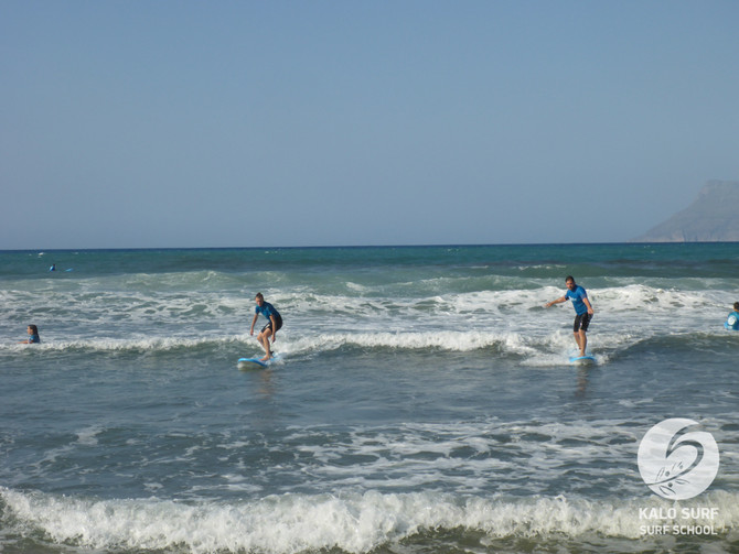 Surf lesson in September in Crete with Kalo Surf