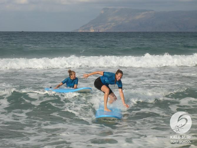 Wellenreiten an der Nordküste auf Kreta