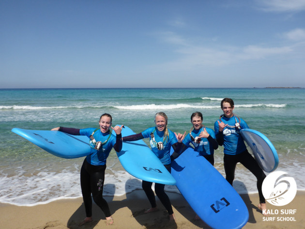 group photo surf lesson in Falassarna