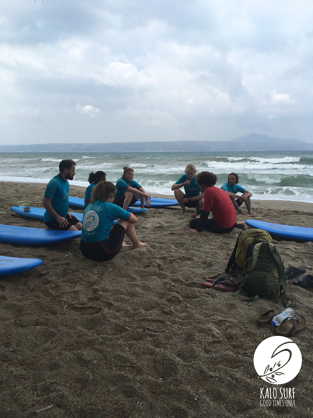 Theory part of surf lesson in Crete