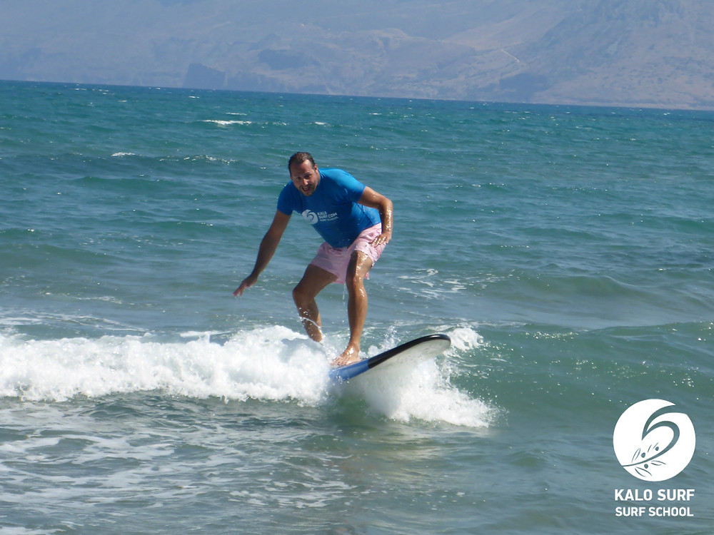 surf school Crete, learning to surf
