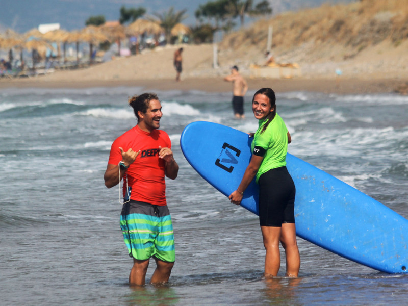 stoked surfer girl in Kissamos