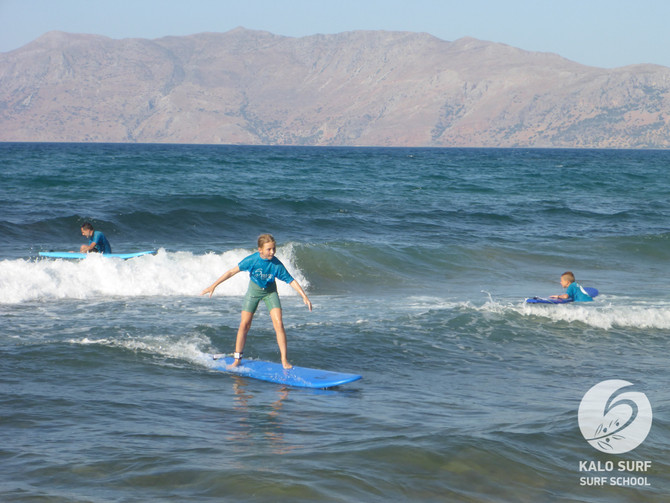 Kids surf lesson in Crete