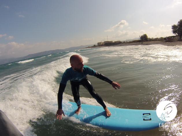 Surfer, GoPro, empty surf in Crete