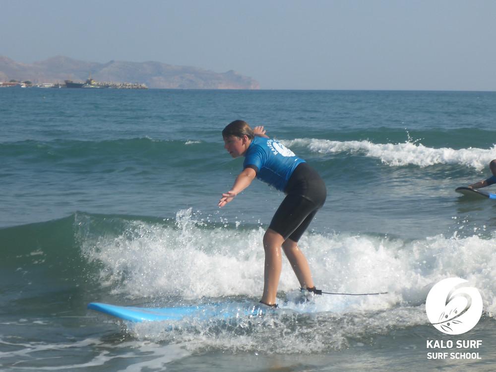 12 year old surfer in Crete