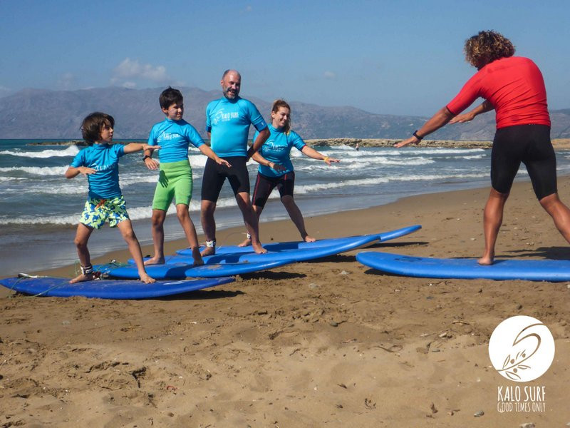 Family surfing Greece