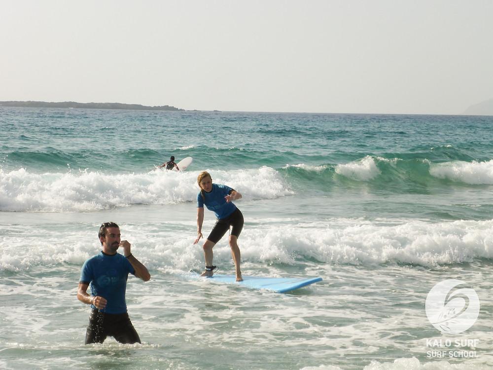 Surf lesson, surfboard, wetsuit, Crete, Falassarna